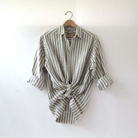 90s striped boyfriend shirt. button down shirt. oversized cotton shirt.