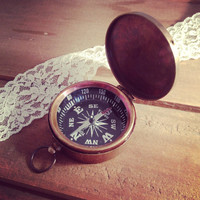 1 - Large Compass Pendant Charm with Closing Lid REALLY WORKS Compass Nautical Antique Brass Bronze Vintage Jewelry Making Supplies