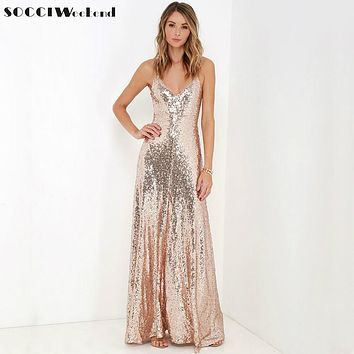 SOCCI Weekend Sequined Backless Long Evening Dress 2017 V-neck Floor Length Prom Robe de Sexy Formal Cocktail Party Desses Pink