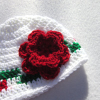Crochet Christmas Baby Cap, White with Red and Green Trim and Big Red Flower  MADE TO ORDER by Crocheted by Charlene