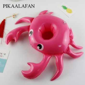 PIKAALAFAN Swimming Pool Party Floating Inflatable Drink Cup Seat Crab Inflatable Water Coaster Inflatable Water Cup Holder