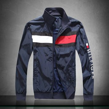 Tommy Hilfiger zip stand collar windproof warm breathable jacket Blue