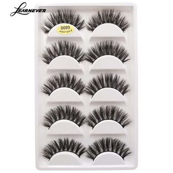 5Pair Mink Hair False Eyelashes And Glue Maquiagem Beauty 3d Eyelash Extension Kits Mink Natural Long Thick Makeup Mink Lash Set