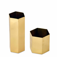 Brass Hexagonal Vase/Planter
