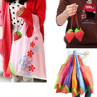 Hot Eco Storage Handbag Strawberry Foldable Shopping Bags Reusable Folding Grocery Nylon Large Bag 8 colors