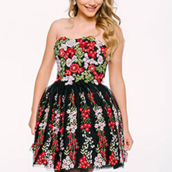 Black/Multi Embroidered Homecoming Dress 41726