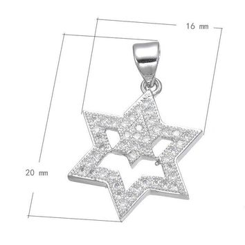 Silver Zircon Micro Pave Jewish Star of David Charm Pendant Necklace CZ