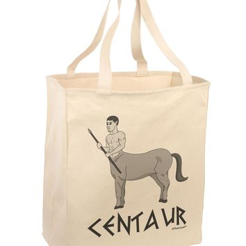 Greek Mythology Centaur Design - Grayscale - Text Large Grocery Tote Bag by TooLoud
