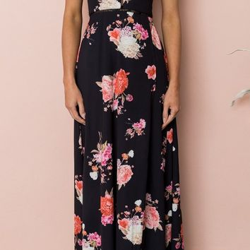 Show Me Love Black Floral Pattern Sleeveless Backless Halter Casual Maxi Dress