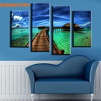 Unframed 4 Pieces Blue Sky And Green Grass Landscape HD Art Printed Picture Modern Home Decor For Wall Art Painting