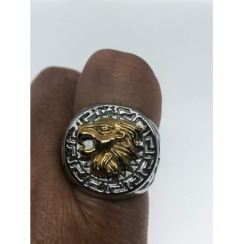 Vintage 1980's Gothic Silver Gold Stainless Steel Lion Head Men's Ring