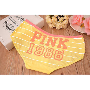 So cute - Yellow VS PINK 1986 Classic 100% Cotton Stripe Panties