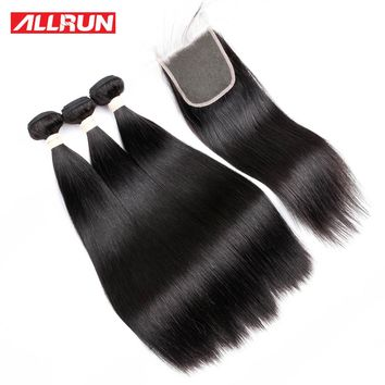 ALLRUN Peruvian Straight Hair 3 Bundles Human Hair Extensions With 4*4 Lace Closure Double Weft Non Remy Hair Weave Bundles 1