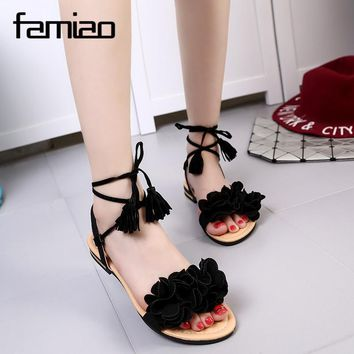 Women Tassels Sandals Flats Lace-up Ankle Strap Ethnic Bohemian Summer Woman Sandals