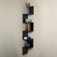 Large Corner Zig-Zag Wall Shelf-Black Laminate
