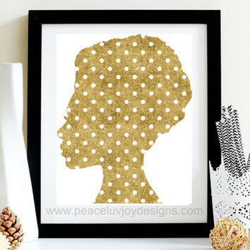 Home Printable, Faux Glitter Polka Dots, 8x10, Instant Download, African American Women, Black Art Printable, Gold Glitter Print, Home Decor