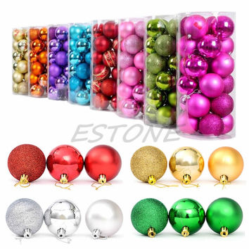 2015 Modern Christmas Tree Xmas Balls Decorations Baubles Party Wedding Ornament  24pcs 4cm