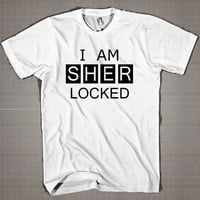 I am Sherlocked white  Mens and Women T-Shirt Available Color Black And White
