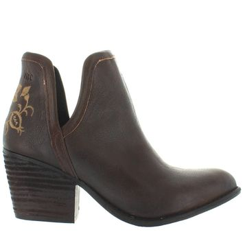 Musse & Cloud Ashila - Brown Leather Embroidered Western Ankle Bootie