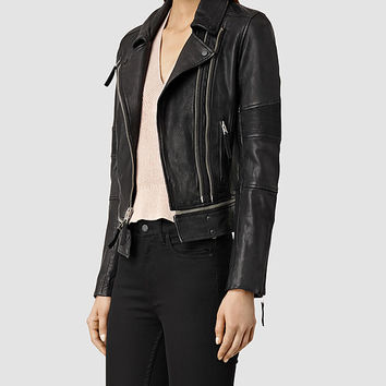 Womens Assembly Leather Biker Jacket (Black) | ALLSAINTS.com