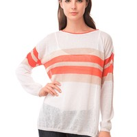 525 America Crew Neck Stripe Hi-Lo - Bleach White Combo