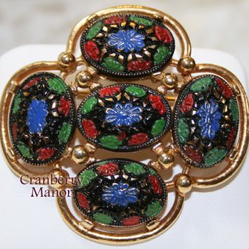 Sarah Coventry Brooch, Light of the East Pin, Blue Red Green Gold Enameled Jewellery Vintage Fashion, Designer Signed, Costume Jewelry J1892
