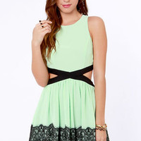 Double Duchess Mint Green Lace Dress