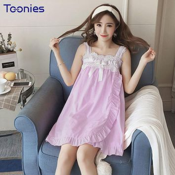Summer Sweet Spaghetti Strap Sleepwear Lace Nightgowns Fashion New Sweet Home Wear Night Dress Leisure Tanks Bow Nightgown