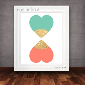 Heart wall art, gold glitter nursery decor, valentine decor, girls room decor, trend colors 2014- INSTANT DOWNLOAD