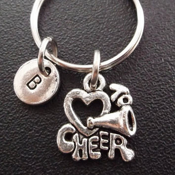 I LOVE TO CHEER keyring, keychain, bag charm, purse charm, monogram personalized custom gifts under 10 item No.296