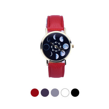 Moon Phase Astronomy Watch Women Lunar Eclipse Pattern Leather Analog Quartz Wrist Watch Casual Leather Relogio Feminino 2016
