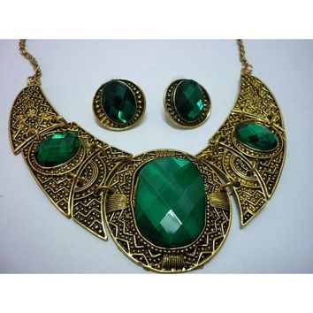 Green Emerald Crystal Glass Greek Tribal Lady's Vintage Gold Bib Chunky Choker Earrings Necklace Sets