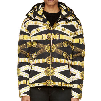 Versus Black Belt Print Puffer Jacket