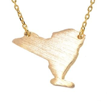 Handcrafted Brushed Metal New York State Necklace