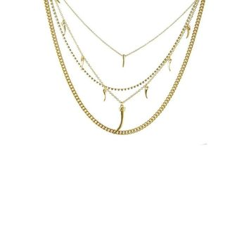 Layered in Luxury Crystal Necklace with Horn Charms