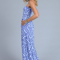 Damask Print Strapless Maxi Dress - Light Blue and Periwinkle