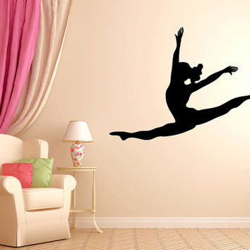"Leaping Dancer Wall Decal Vinyl Sticker Dance Studio Bedroom Wall Home Decor Sizes from 22"" to 50"" tall"