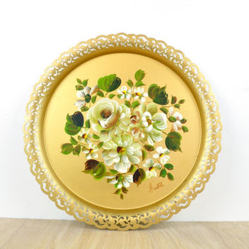 Hand Painted Tole Tray // Gold with Flowers
