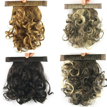 New Women Short Curly Pony Tail Wrap Around Clip In Ponytail Free Shipping