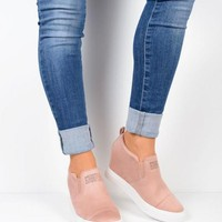 New Pink Round Toe Wedges Casual Ankle Shoes