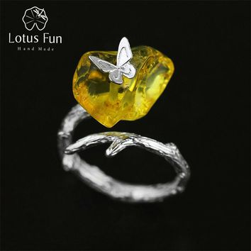 Lotus Fun Real 925 Sterling Silver Natural Amber Handmade Designer Fine Jewelry Looking Back Butterfuly Rings for Women Bijoux