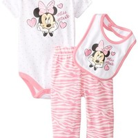 Disney Baby-Girls Newborn Minnie Mouse 3 Piece Zebra Print Bib Set