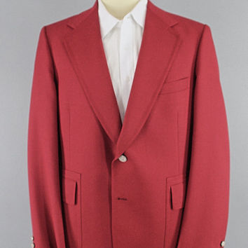 Vintage 1970s Blazer / 70s Jacket / 1960s Sport Coat / Preppy Red Spring Summer Blazer / Jack Nicklaus Golf Jacket / Size Large XL Tall