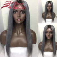 8A Full dark root ombre Lace Front Wigs/ silky Straight