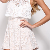 White Scoop Collar Sleeveless Loose Romper