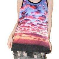 Sunset Sky Clouds Nature Photo Tank Top Singlet Art Indie Tee Size S