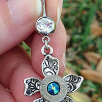 Bullet belly ring. 9mm and flower summer body jewelry
