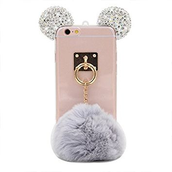 iPhone 6S Case, MC Fashion Handmade Sparkle Bling Bling 3D Rhinestone Mickey Mouse Ear with Faux Fur Ball Clear Transparent Rubber TPU Case for Apple iPhone 6/6S (Bling-Clear with Gray Fur Ball)