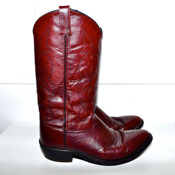 Make an Offer OLD WEST 1980s Vintage Wine LEATHER Western Cowboy Boots Ranch Style Mens size 10 Burgundy Cordovan
