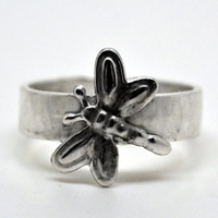 Sterling Silver Dragonfly Ring, Insect Jewelry, Handcrafted Unisex Ring